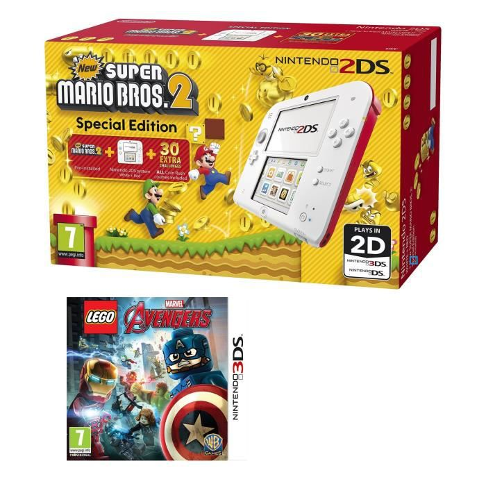 CONSOLE 2DS 2DS Rouge + New Super Mario Bros 2 + LEGO Marvel's