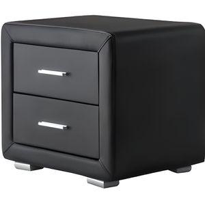 CHEVET GENEVE Table de chevet en simili 49 cm - Noir