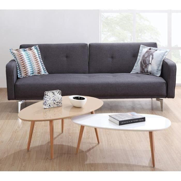 stone table basse scandinave laqu e beige avec pieds en bois massif l 98 x l 61 cm achat. Black Bedroom Furniture Sets. Home Design Ideas