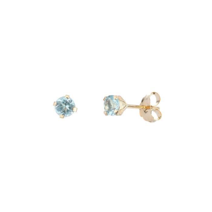 OR ECLAT - Boucles dOreilles Puces Or Jaune et Topaze Bleue 0,17ct/2 - Femme
