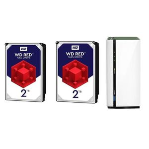 SERVEUR STOCKAGE - NAS  QNAP NAS 2 Baie TS-228A WD + 2 Disques dur 2To Red