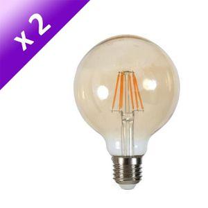 AMPOULE - LED Lot de 2 Ampoules LED filament vintage ambrée E27