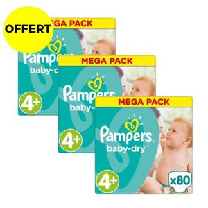 COUCHE PAMPERS Baby Dry Taille 4+ - 9 à 18kg - 240 couche
