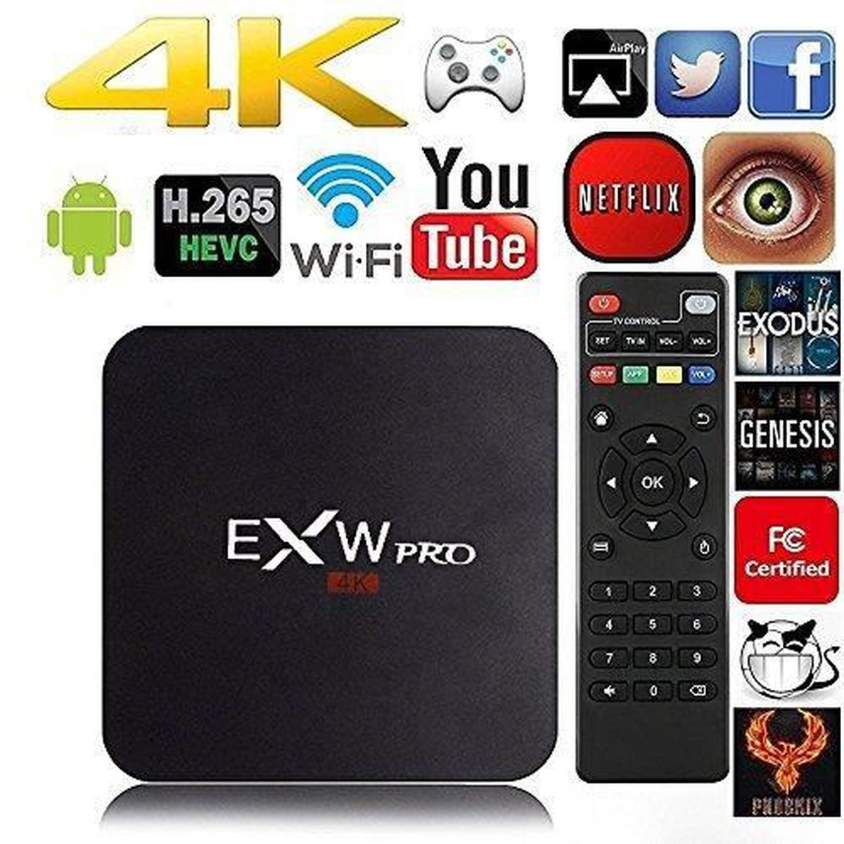 Mxq Pro Amlogic S905 Quad Core Uhd 4k 1go 8go Android 51 Wifi H Tv Box Multimedia An