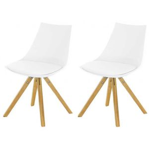 CHAISE Lot de 2 Chaises Scandinaves Blanche TURIN