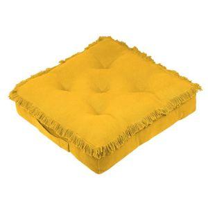 COUSSIN Coussin de sol 45x45 cm Prague moutarde coton 45 X