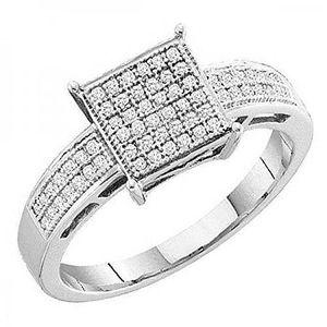 BAGUE - ANNEAU Bague Femme Diamants 0.18 ct 750-1000  Argent Fin