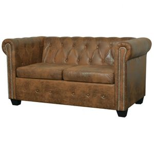 canap sofa divan canap chesterfield 2 places cuir artificiel marro - Canape Chesterfield Rouge Cuir
