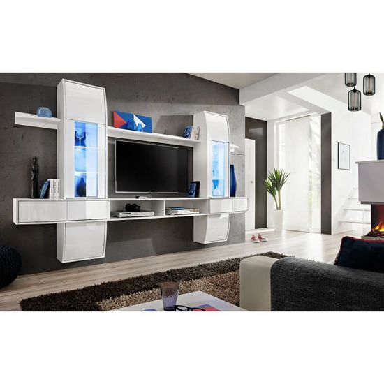 Meuble De Salon Meuble Tv Design Suspendu Commette Corps Blanc Mat