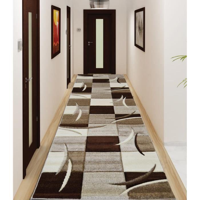DIAMOND Tapis de couloir 80x300 cm marron, noir et blanc - Achat ...