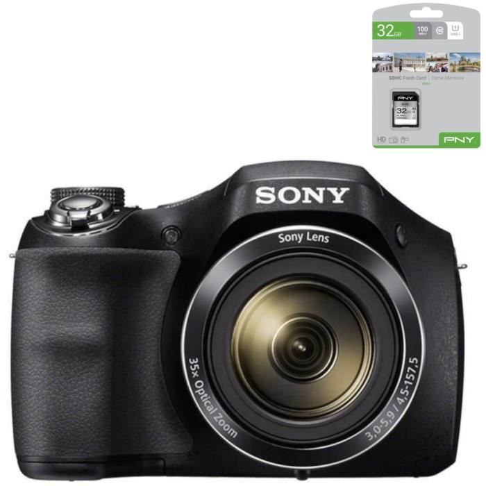 SONY DSC-H300 - CCD 20 MP Zoom 35x Appareil photo numérique Bridge + PNY Carte mémoire SD 32Go Elite