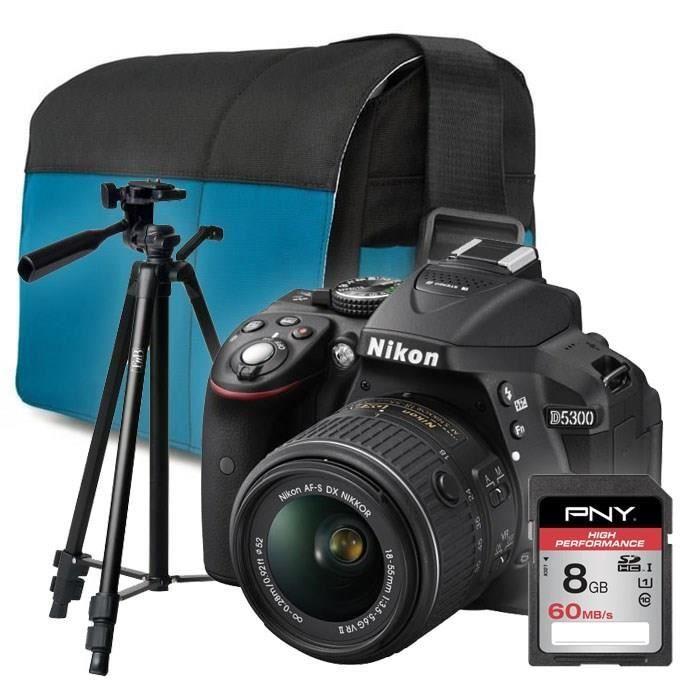 NIKON D5300 + 18-55mm VR II noir + Sacoche + carte 8Go + trépied
