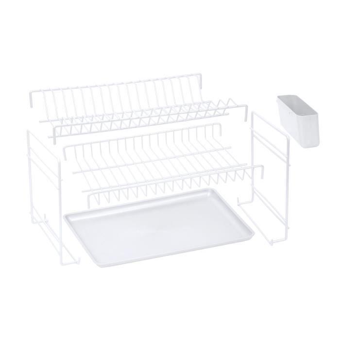 SAUVIC Égouttoir à vaisselle plastifié démontable - Blanc