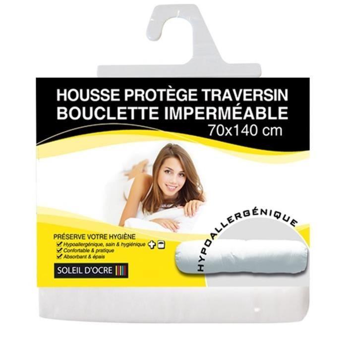 SOLEIL D'OCRE Sous taie protège traversin bouclette 70x145 cm blanc