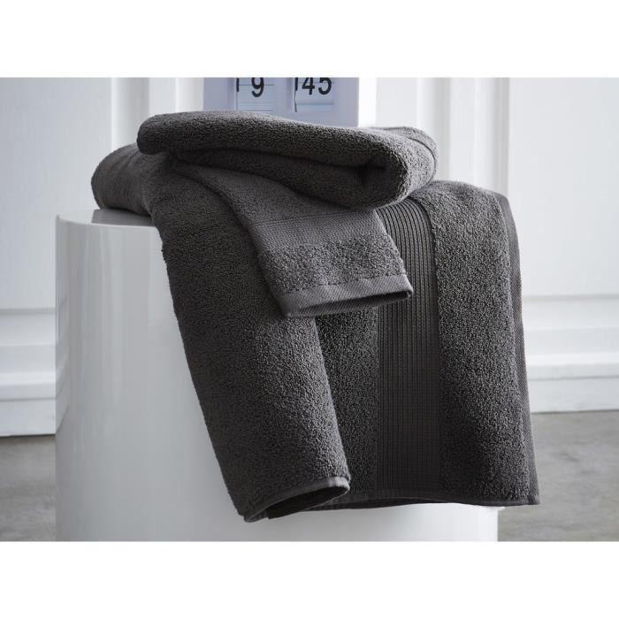 TODAY Drap de bain Premium - 100% coton 600 g/m²- 70 x 130 cm - Gris canon de fusil