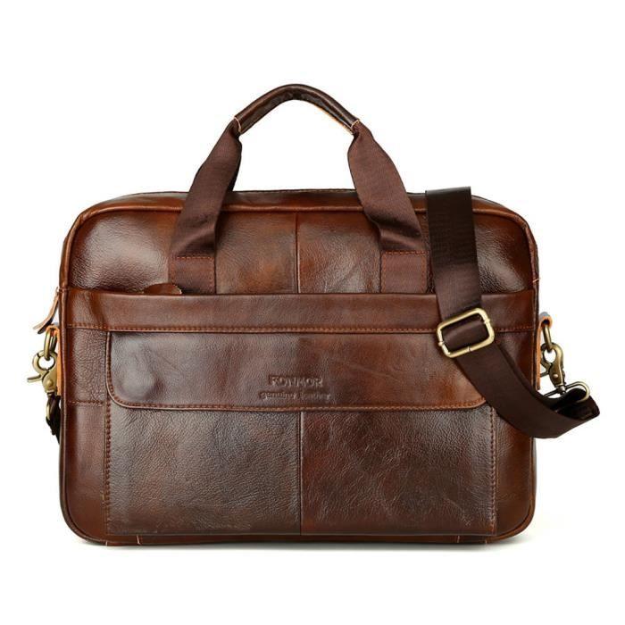 40fa766a26 Cuir Messenger épaule Sacs pour hommes Porte-documents pour ordinateur  portable travail d'affaires sac à main ZLY80111783BW_822