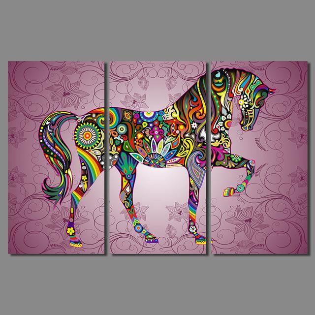 Art abstrait imprimé 3 pcs Animal enfants chambre enfants Décoration ...
