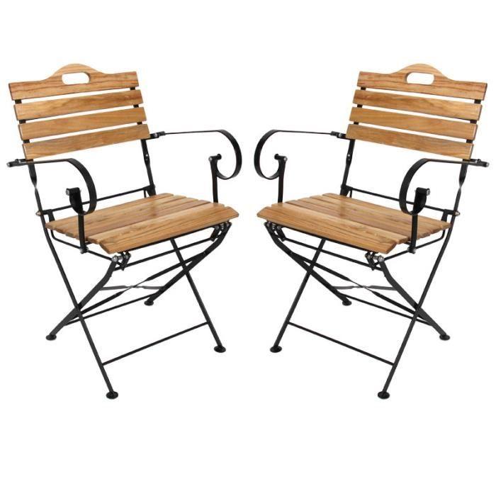 2x chaise de jardin pliante n01 avec accoudoirs bois m tal beige achat vente fauteuil. Black Bedroom Furniture Sets. Home Design Ideas