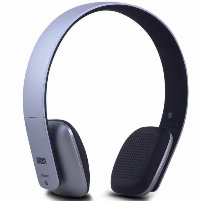 Casque Bluetooth Sans Fil – August Ep636 Micro, Nfc, Multipoint Et Batterie - Audio Supra Auriculaire Léger Gris