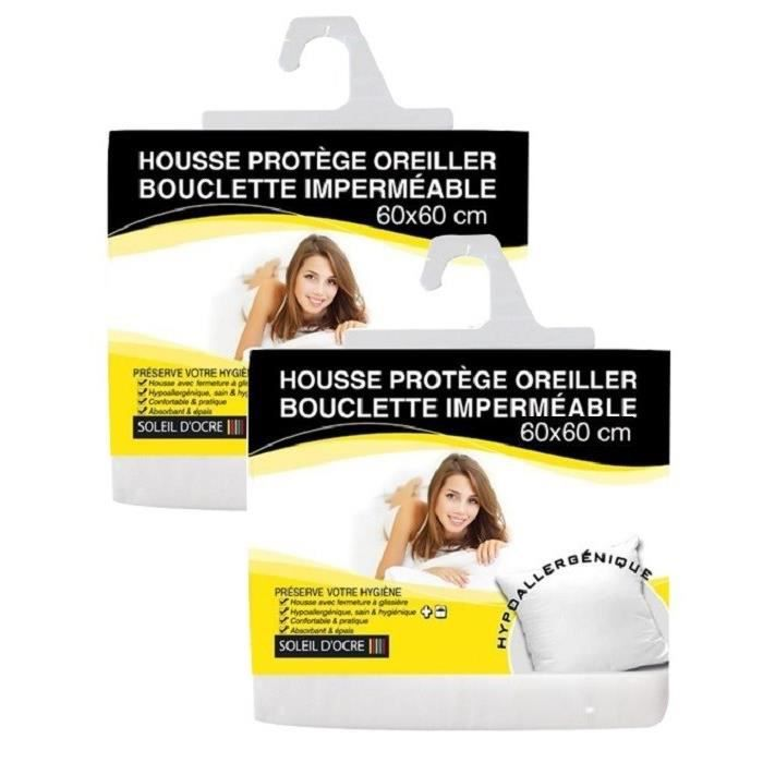 protege oreiller 50x70 SOLEIL D'OCRE Lot de 2 Protège Oreillers bouclette imperméable  protege oreiller 50x70