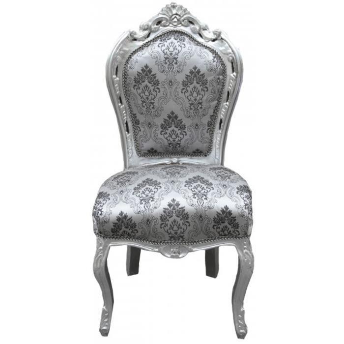 Casa Padrino Baroque Diner Chaise Gris Motif