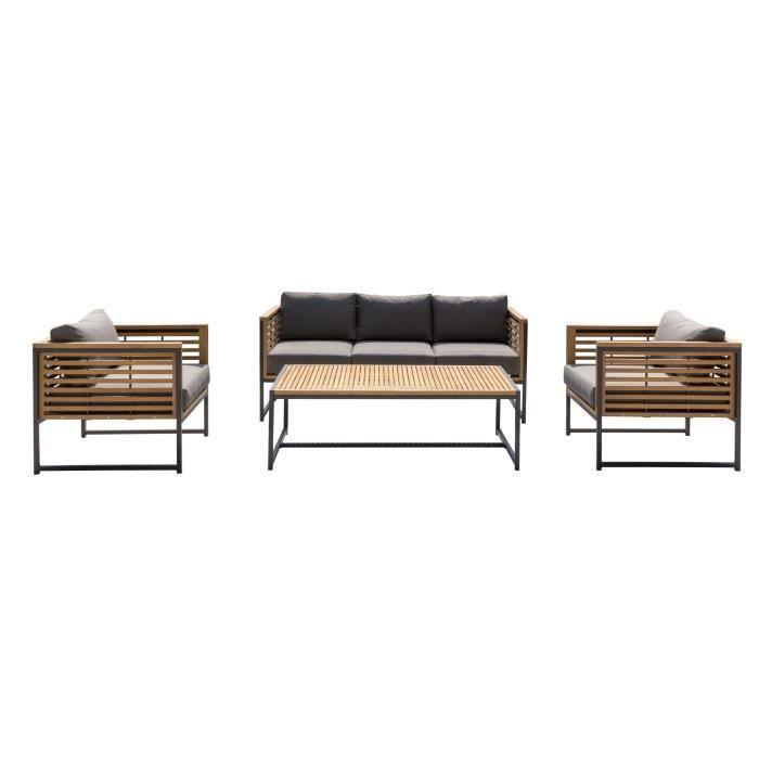 Salon de jardin 5 places - 1 table avec 2 fauteuils et 1 canapé 3 ...