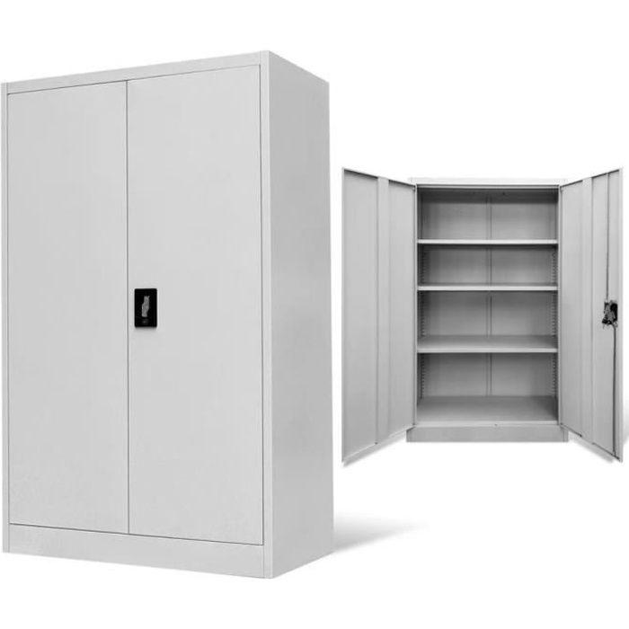 festnight armoire de bureau m tallique 2 portes 3 etag res. Black Bedroom Furniture Sets. Home Design Ideas