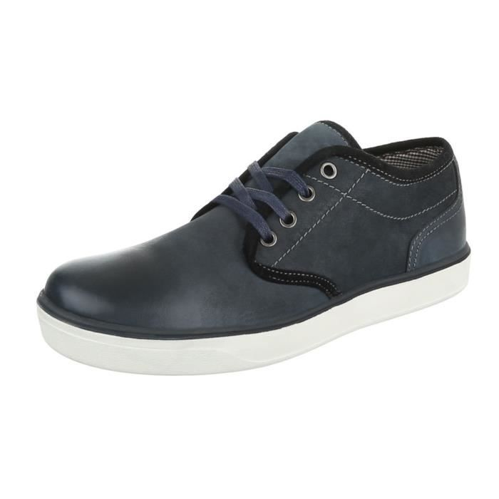 homme chaussures flâneurs cuir lacer Bleu foncé 41