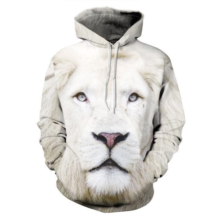 858124741cf5 Sweatshirt Sweat-shirts Manche Longue 3D Lion Imprimé Sweat Pull à Capuche  Homme Femme Halloween
