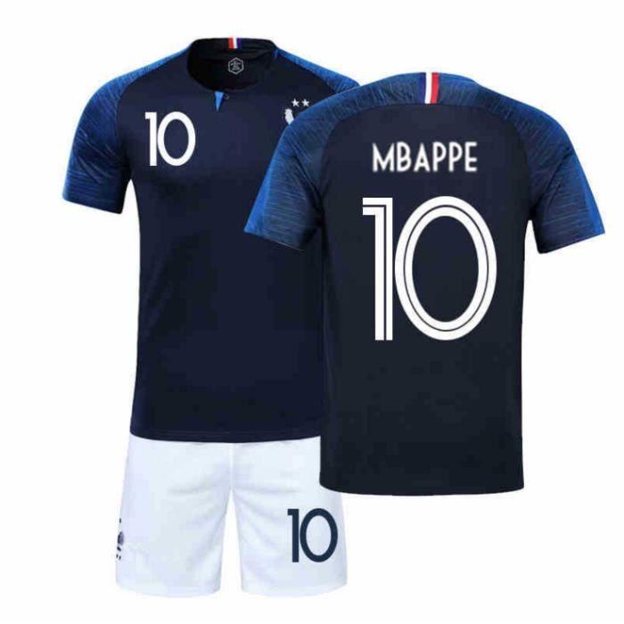 6d31de508ed42 MBAPPE Maillot Equipe de france 2 étoiles - Maillot et Shorts de football -  Enfant Bleu
