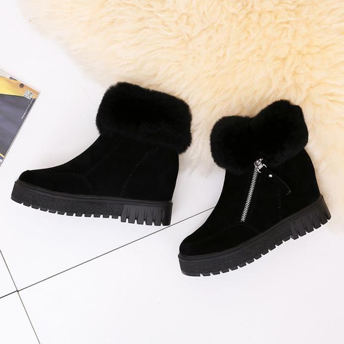 Napoulen®Bottom rehausser Soft Side court tube bottes chaudes mode pour femmes Noir-XYM71120903BK