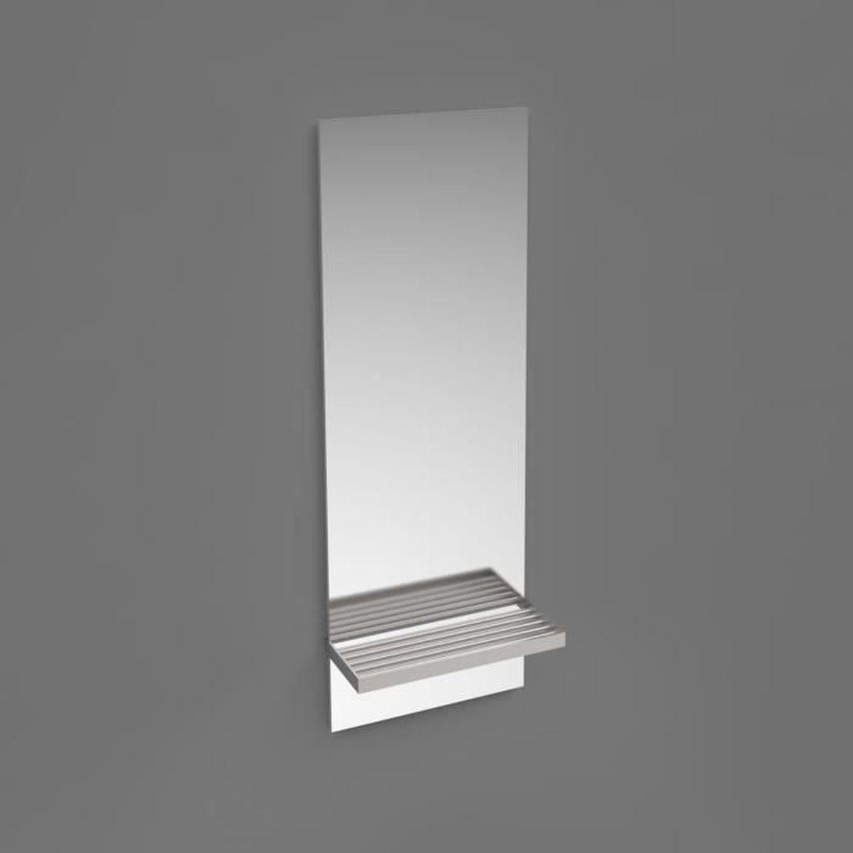 Miroir Salle De Bain H60 X L28 X P11 Cm Avec Support étagère Verre Et Métal  Chromé