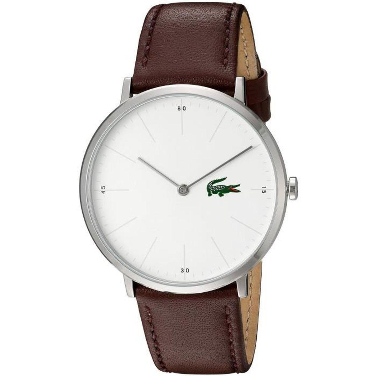 Montre Lacoste Bracelet Blanc 40mm Cuir Cadran Quartz Homme Marron TPkXiuZO