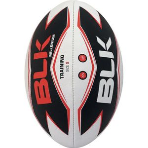 BLK Ballon de Rugby Millenium Training Solar S.5 Adulte Blanc et noir et rouge