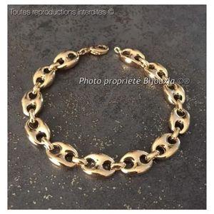 BRACELET - GOURMETTE Bracelet Grain De Café Large 22,5 CM Plaqué or 18