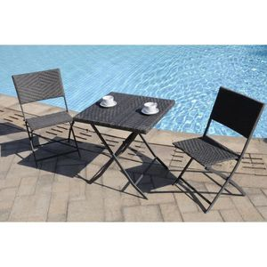 finlandek set bistrot r sine tress e pour balcon et jardin gris achat vente salon de jardin. Black Bedroom Furniture Sets. Home Design Ideas