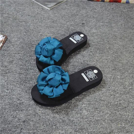 Chaussures Femmes Tongs Sandales Intérieur Bleu Chausson De Plage Extérieur Fleurs D'été GUzpqSLMV