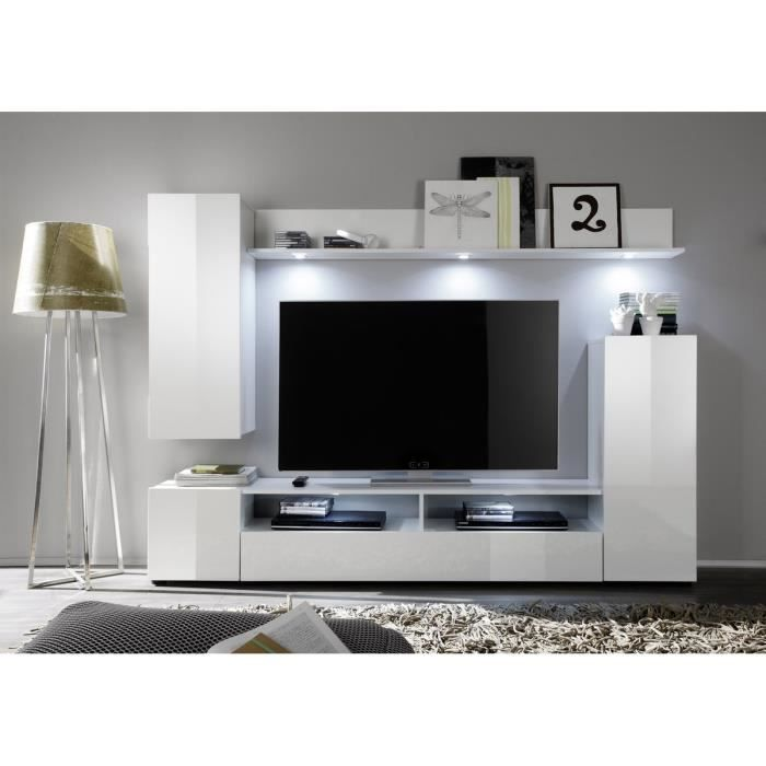 Dos meuble tv mural contemporain blanc brillant l 208 cm for Meuble tv blanc brillant