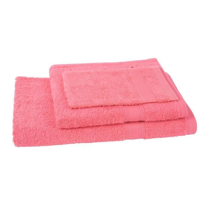 JULES CLARYSSE Lot de 1 serviette + 1 drap de bain + 1 gant de toilette Élégance - Corail