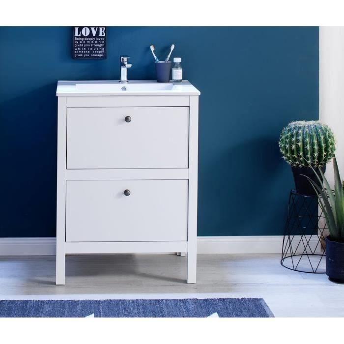 OLE Meuble de salle de bain simple vasque L 60 cm - Blanc mat
