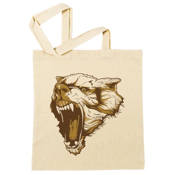 Sac à Provisions - Loup Attaque  Plage Coton Réutilisable Shopping Bag Beach Reusable - B-38022 - B-38022