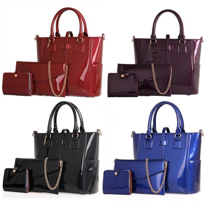 sac à main femme en cuir de luxe 2017 femmes sac marque célèbre les femmes Sacs chaîne 3 Ensembles Big Tote Taille -698