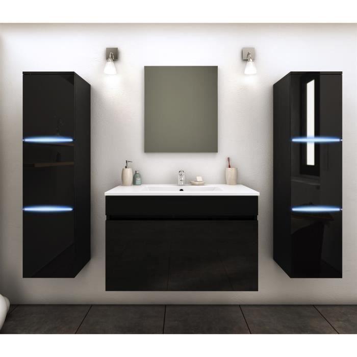 Meuble de salle de bains 2 colonnes avec led amalfi noir - Vendeur de salle de bain ...