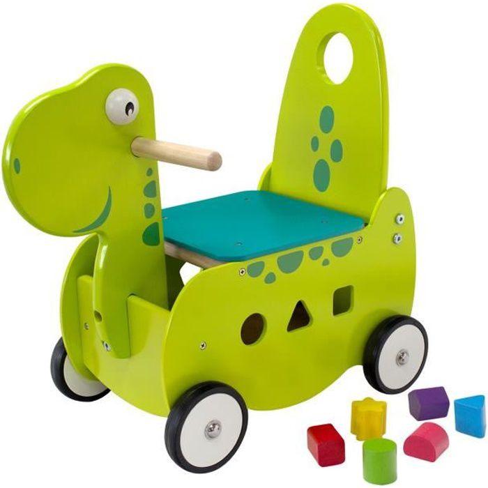 d58db71795c Porteur - Pousseur - I M TOY - Porteur en bois pour bébé Le dinosaure  -chariot de marche évolutif bébé + 12 mois