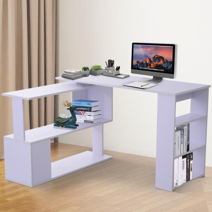 Bureau informatique multimédia modulable bibliothèque intégrée + étagère 3  niveaux panneaux particules blanc 117x82x74cm Blanc