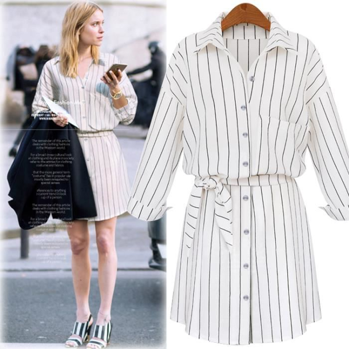 23f965054a5 Robe Chemisier Femme Chasuble Manches Longues ... Blanc - Achat ...
