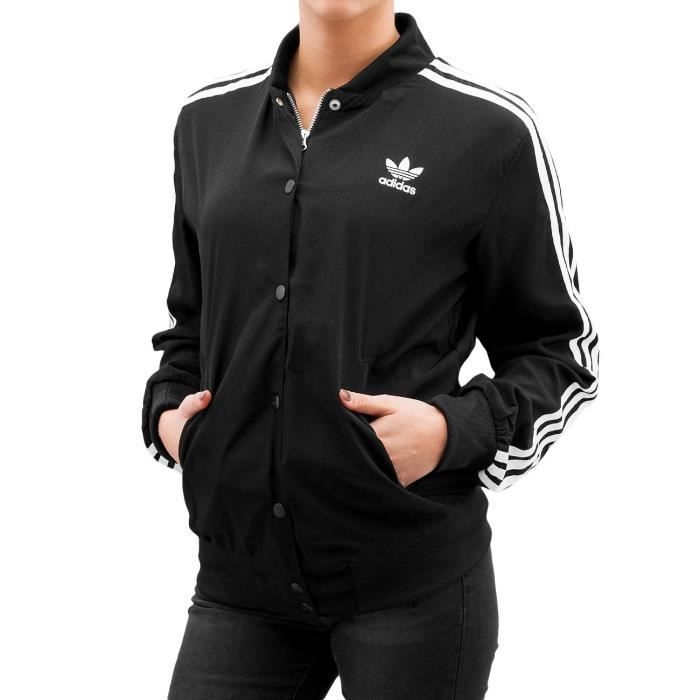 adidas femme vestes blousons veste bomber 3 stripes noir noir achat vente blouson. Black Bedroom Furniture Sets. Home Design Ideas