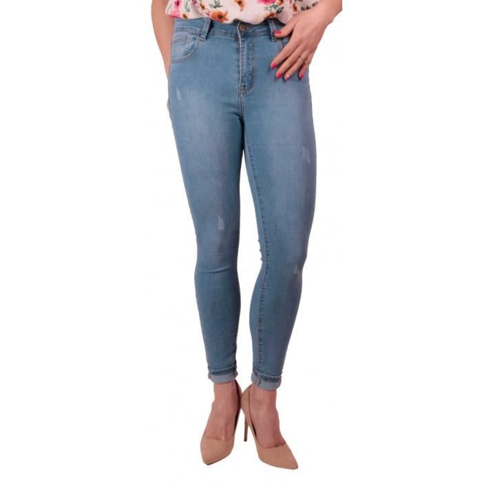 6b7164d843187 Jean Femme bleu clair skinny stretch taille haute effet Jean skinny ...