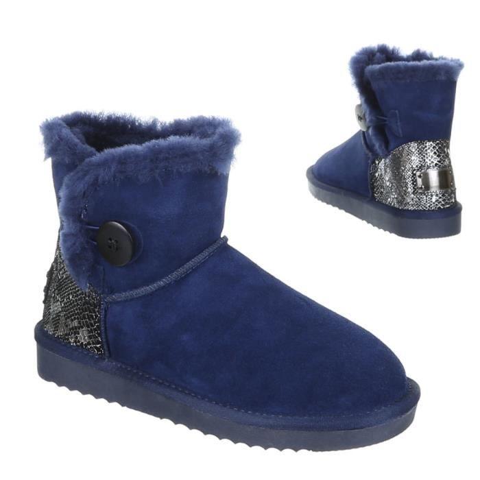 Femme chaussures bottes doublé chaud suède bottillon bleu 41
