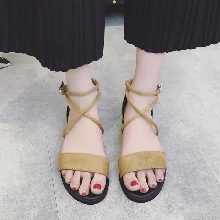 sandales femmes de la mode nouveau un mot boucle peu profondes bouche rétro été plates bas talon